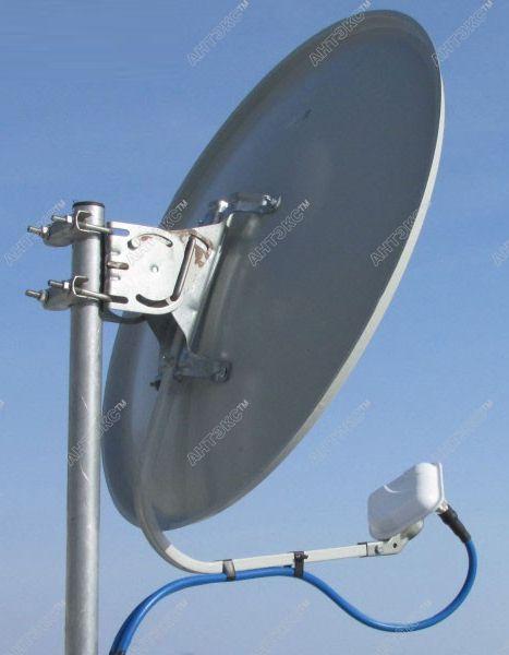 Установив облучатель в тарелку 0,6м, усиление антенны составит 21дб
