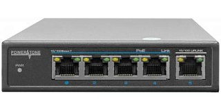 PoE коммутатор Web Smart PWS-T04-60M, 4x10/100BASE-TX PoE 802.3af&at + 1x10/100BASE-TX, внешний БП 6
